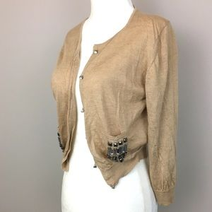 Sweaters - [Vintage] Silk & Cashmere Sweater, Tan with Jewels
